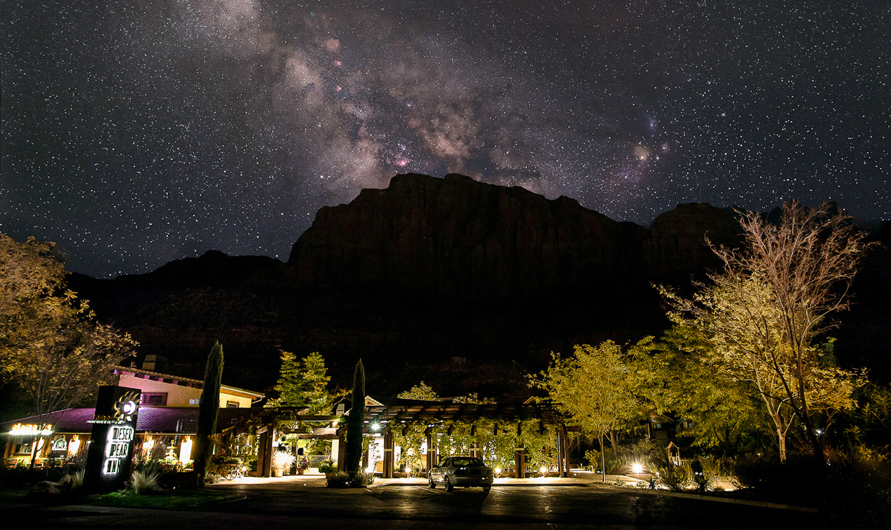Night sky with stars over Zion National Park at Desert Pearl Inn hotel