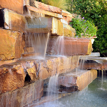 Waterfall by the hot tub